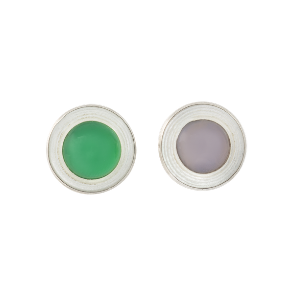 A pair of Silver, Chalcedony, Mother of Pearl stud Earrings - image 1