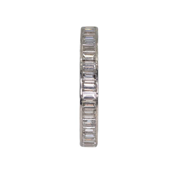 Platinum set diamond baguettes full eternity ring - image 1
