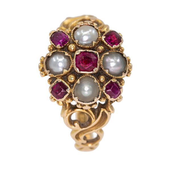 Victorian ruby and pearl cluster ring - image 1