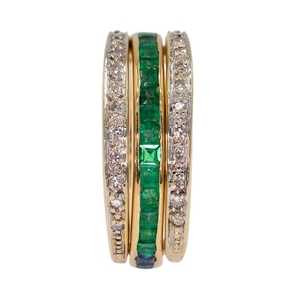 """Flip over """"day/night"""" emerald, sapphire and diamond ring - image 1"""
