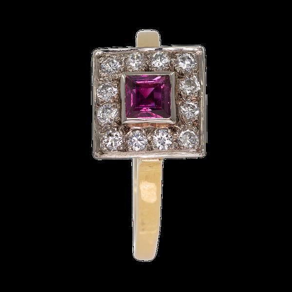 Retro diamond and ruby square ring - image 1