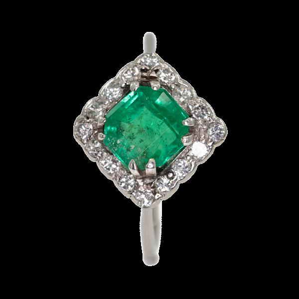 Emerald and diamond Art Deco rhombic shape ring - image 1