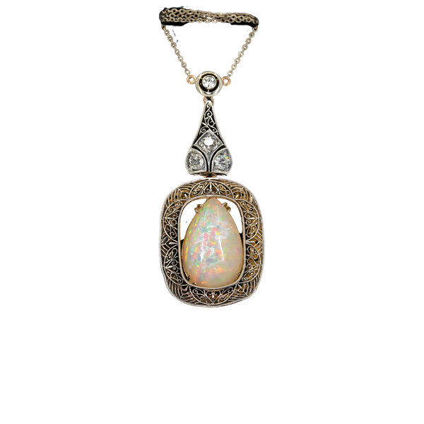 Art Deco large opal and diamond necklace - image 1