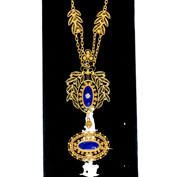 Gold filigree and enamel necklace and matching gold enamel brooch - image 1