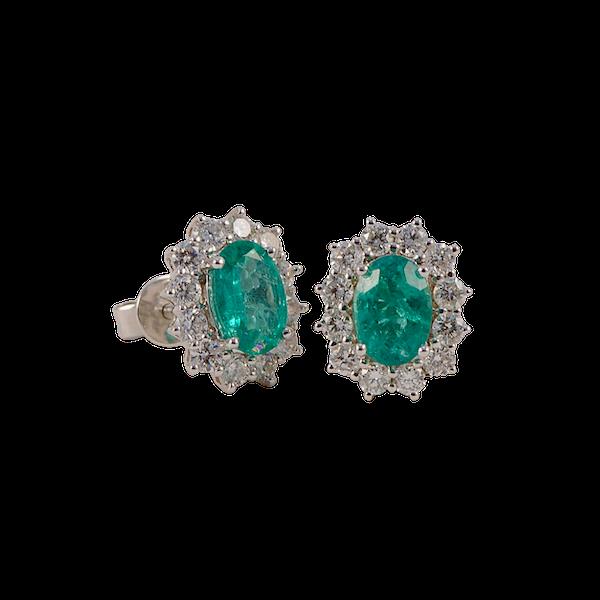 Emerald Diamond Cluster Earrings in 18ct White Gold date circa 1980, SHAPIRO & Co since1979 - image 1