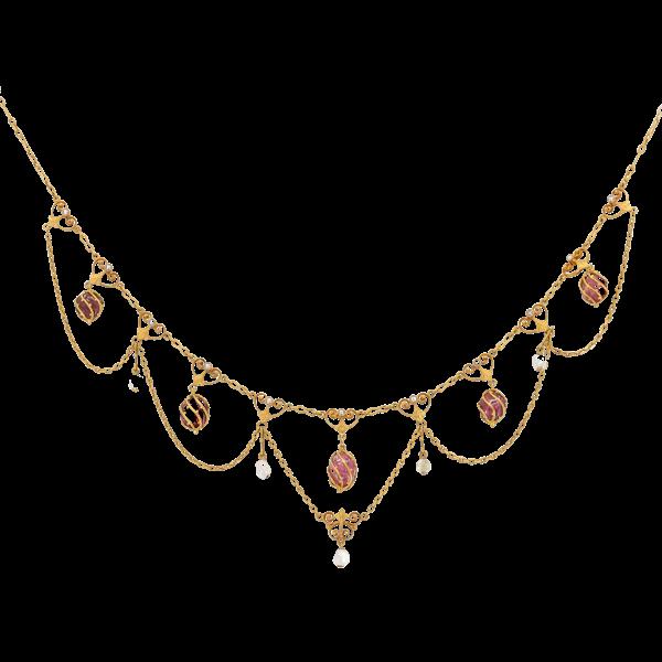 Art Nouveau Swedish pink tourmaline, pearl and enamel necklace - image 1
