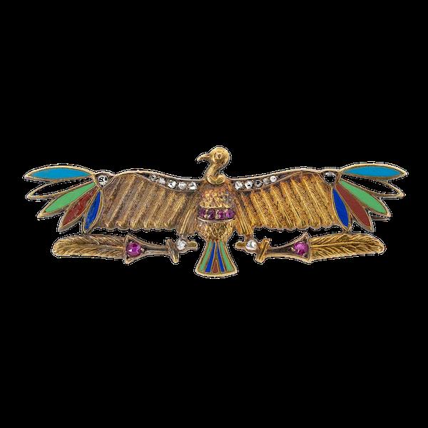 Art Nouveau Egyptianesque multicoloured enamel and diamonds brooch - image 1