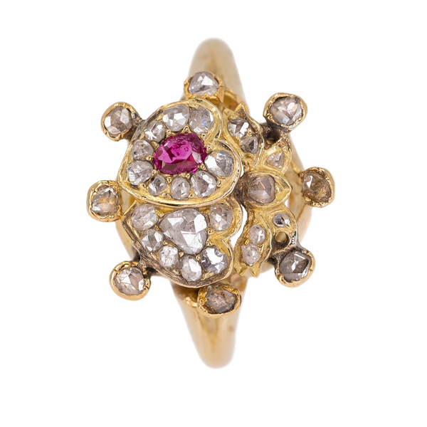 Antique double heart diamond and ruby ring - image 1
