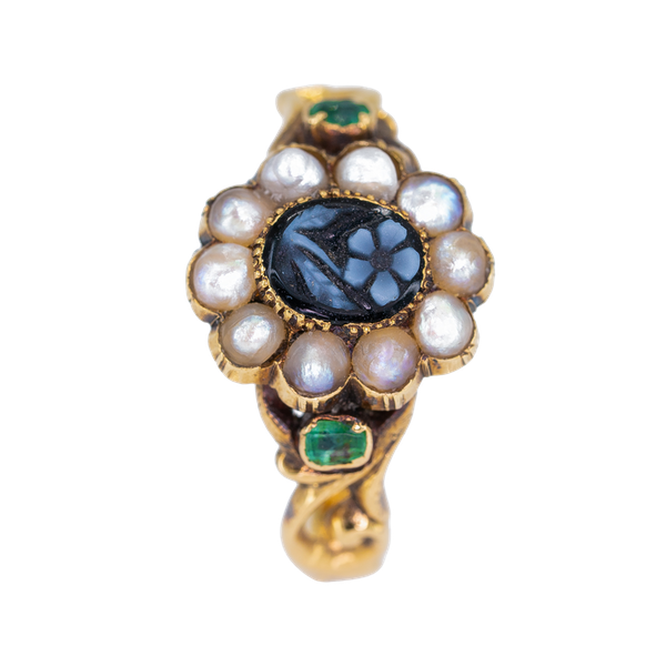 Georgian  2 colour cameo and pearl cluster ring - image 1
