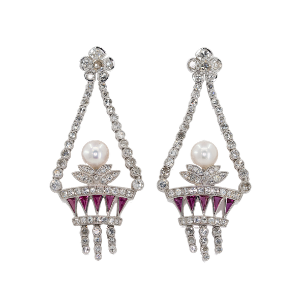 A Pair of Art Deco Style Jardiniere Earrings Offered by The Gilded Lily - image 1