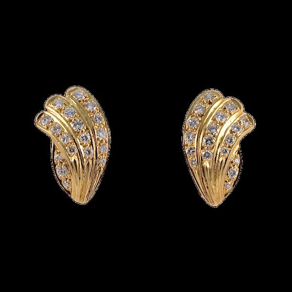 Diamond Clip Earrings in 18ct Gold by Mappin & Webb date London import mark for 1981, SHAPIRO & Co since1979 - image 1