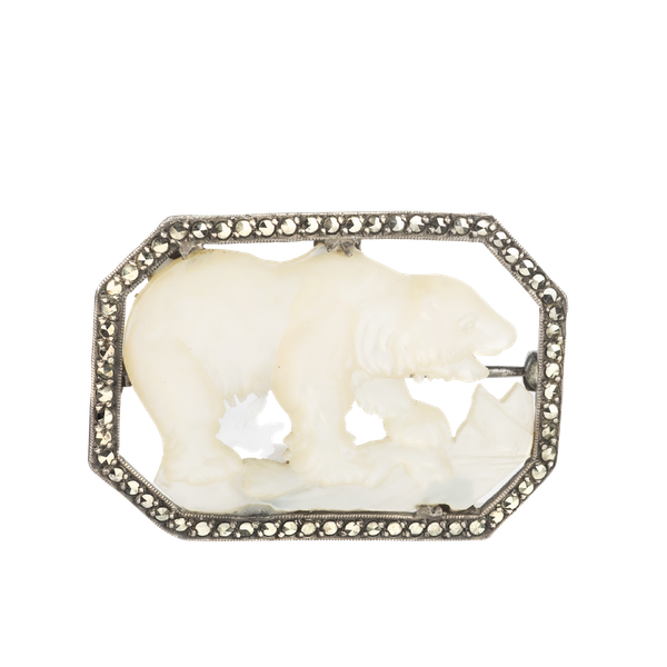 A Mother of Pearl Marcasite Polar Bear brooch - image 1