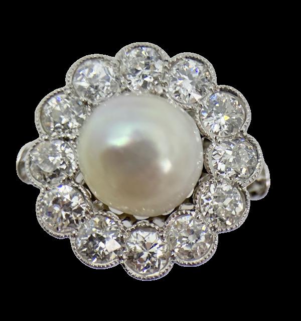 Antique Pearl & Diamond Ring - image 1