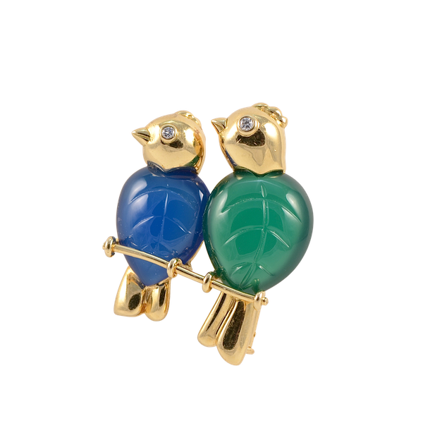 Cartier signed Lovebirds Brooch Chrysoprase, Blue Chalcedony and Diamonds in 18ct Gold dated 1991, SHAPIRO & Co since1979 - image 1