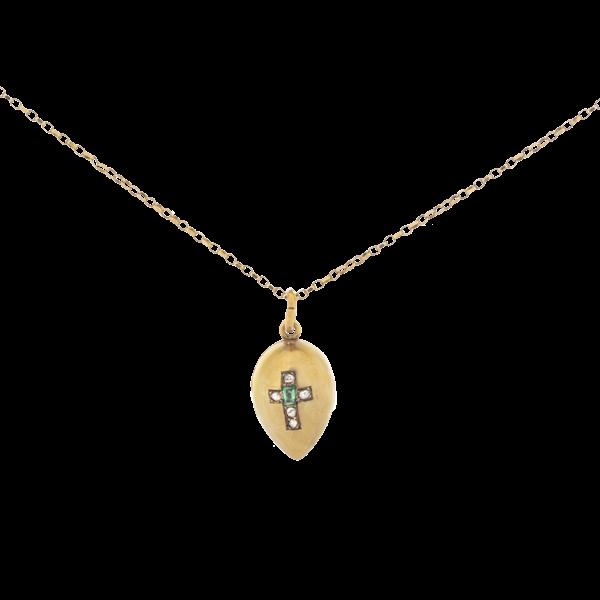 A Gold Emerald Diamond Egg Pendant - image 1