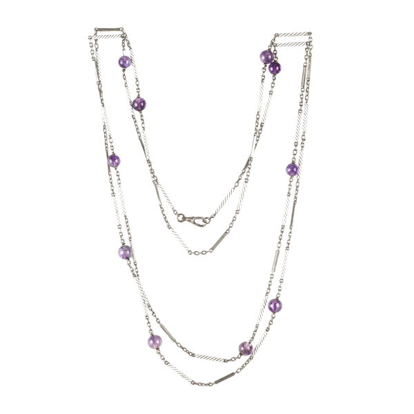 A Silver White Enamel Amethyst Necklace - image 1