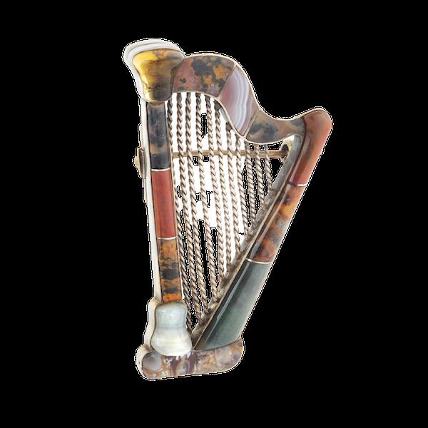 A Silver Agate Citrine Harp Brooch - image 1