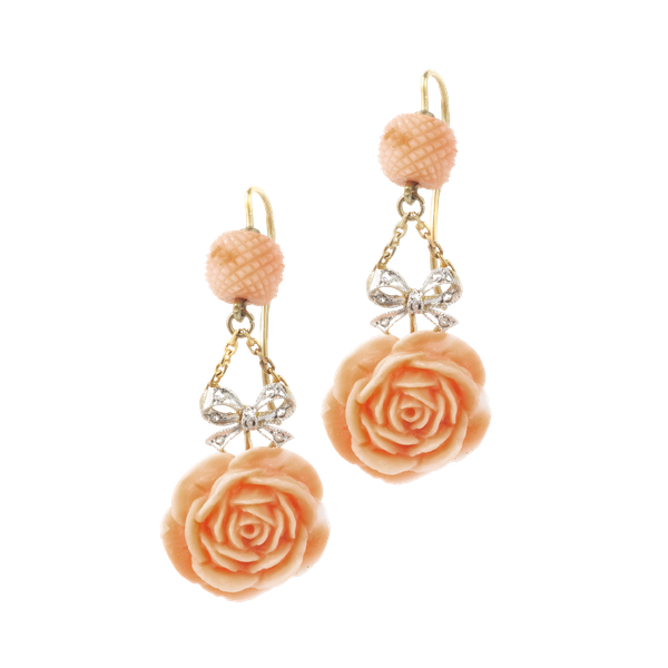 A pair of Coral Diamond Rose Earrings - image 1