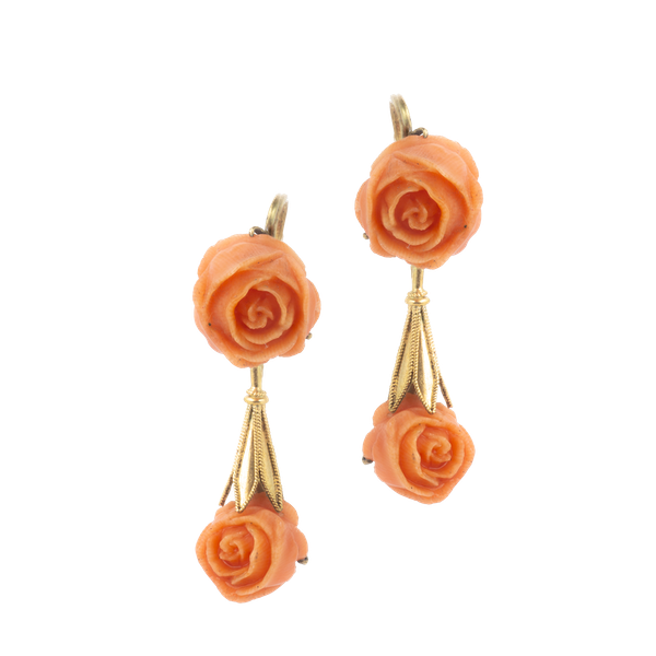 A pair of Coral Gold Rose Earrings - image 1