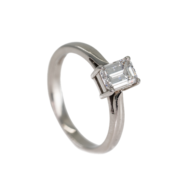 An Emerald Cut Diamond Solitaire Ring - image 3