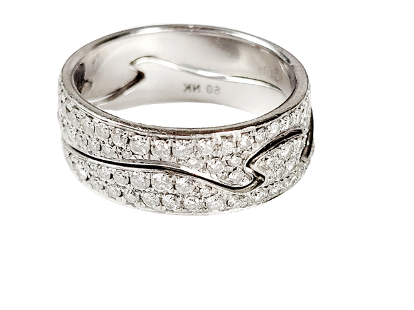 Paor of diamond Jorge Jensen 18ct white gold rings sku 5017  DBGEMS - image 1