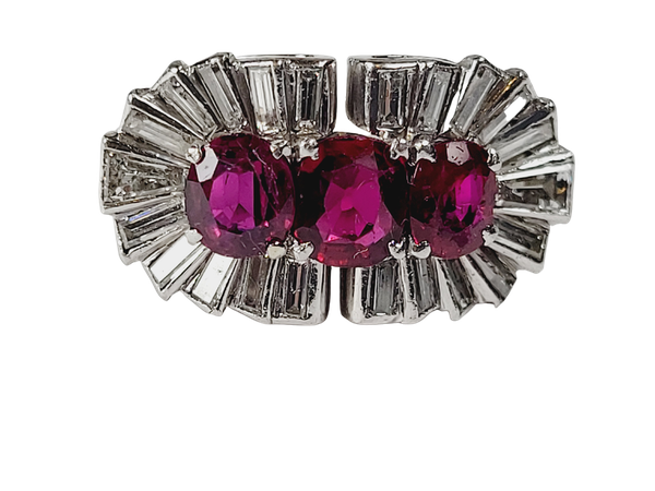 1940's ruby and baguette diamond dress ring sku 5 - image 1