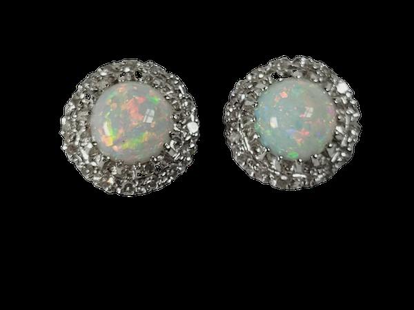 Antique opal and diamond earrings sku 5031  DBGEMS - image 1