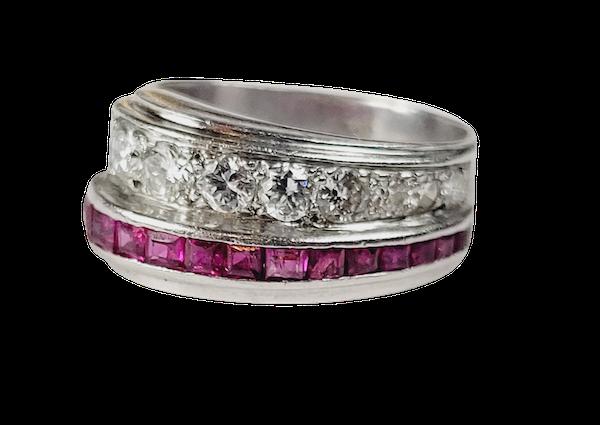 1930's ruby and diamond asymmetric dress ring sku 5025  DBGEMS - image 1