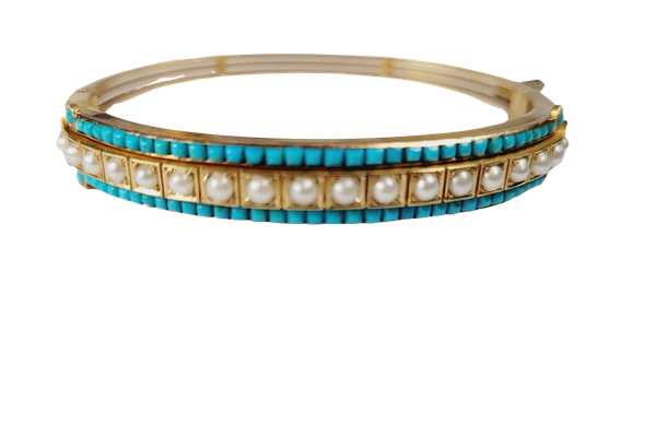 Antique natural pearl and turquoise gold bangle sku 5026  DBGEMS - image 1