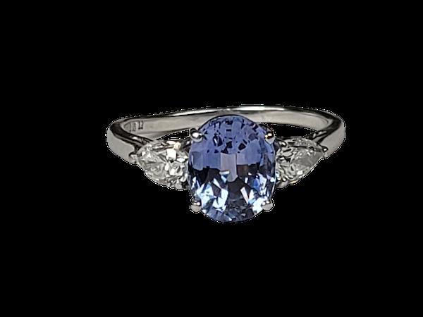Cornflour blue sapphire and pear diamond engagement ring sku 50  DBGEMS - image 1