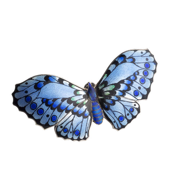 A Blue Enamel Silver Butterfly - image 1