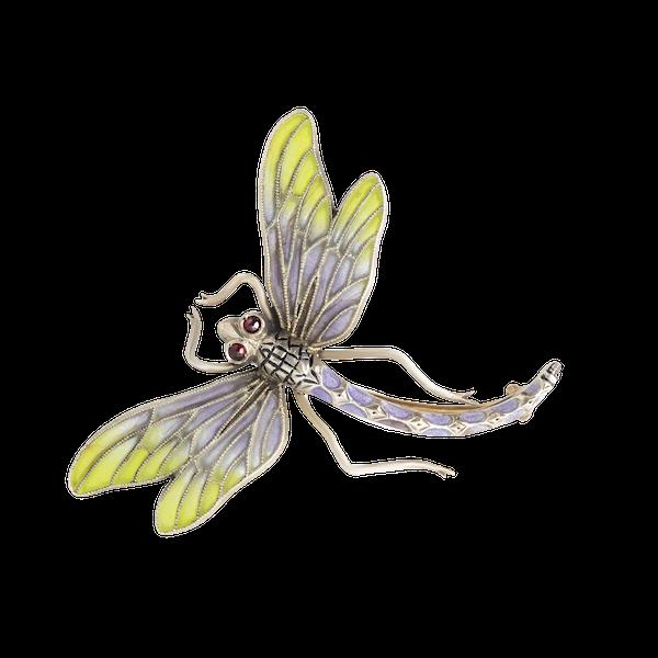 An Art Nouveau Plique-à-Jour Silver Dragonfly Brooch - image 1