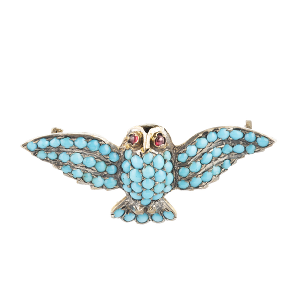 A Silver Turquoise Garnet Owl Brooch - image 1
