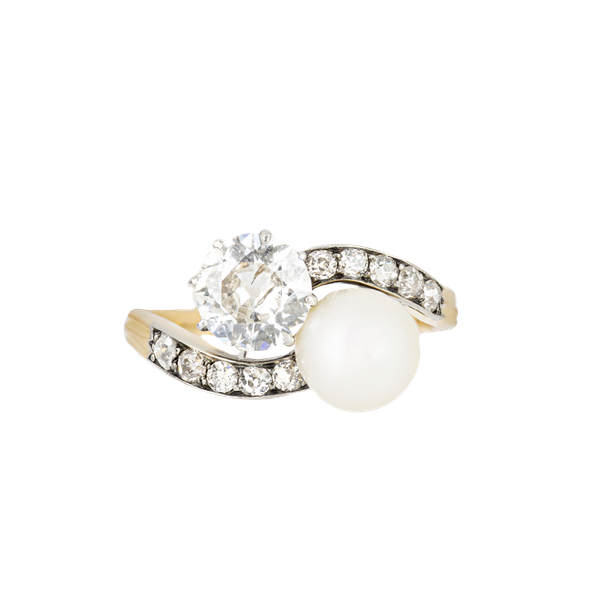 A Diamond Pearl Toi et Moi 18ct Gold Ring - image 1
