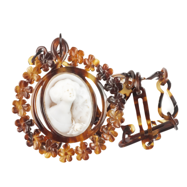 A Tortoiseshell Cameo Medallion Necklace - image 1