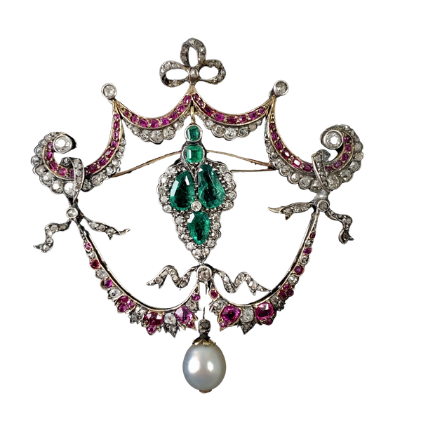 1860 gold brooch with diamonds emeralds and rubies - image 1