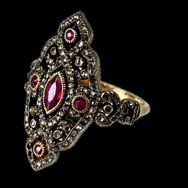 Diamond ring with rubies - image 1