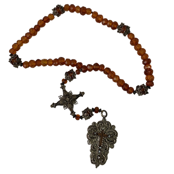 Ca 1800 rosary with amber beads - image 1