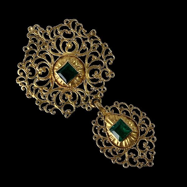 Seventeenth century Portuguese pendant with emeralds - image 1