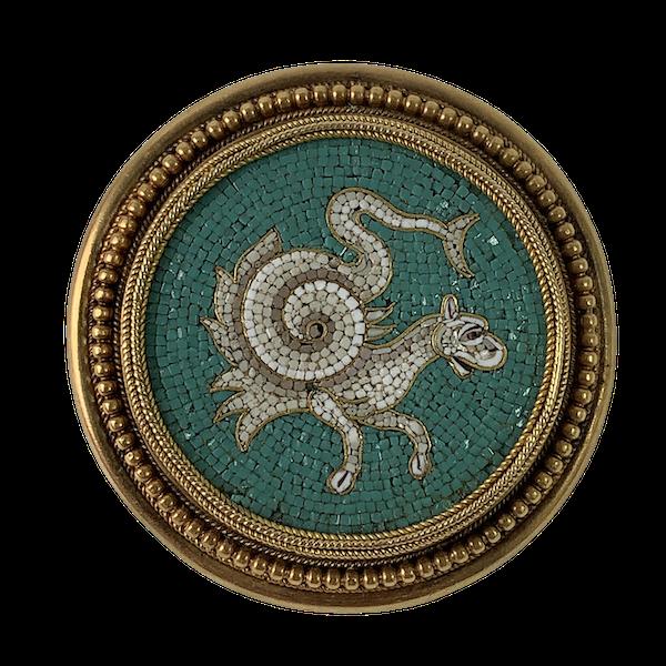 Gold mounted micro mosaic brooch - image 1