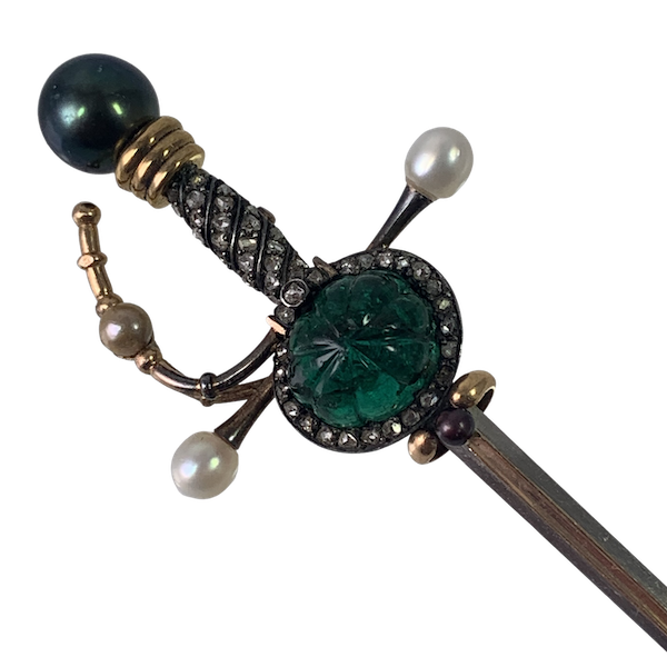 Brooch with carved Mughal emerald and diamonds - image 1