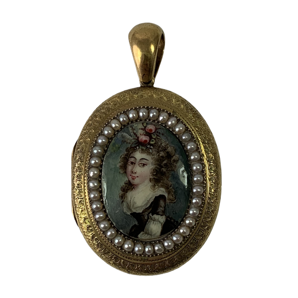 Antique gold locket with enamel plaque - image 1