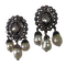 Pair of 1760 silver earrings with diamonds and pearls - image 1