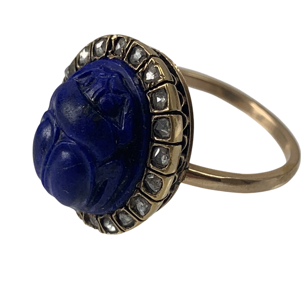 Lapis scarab ring with diamonds - image 1