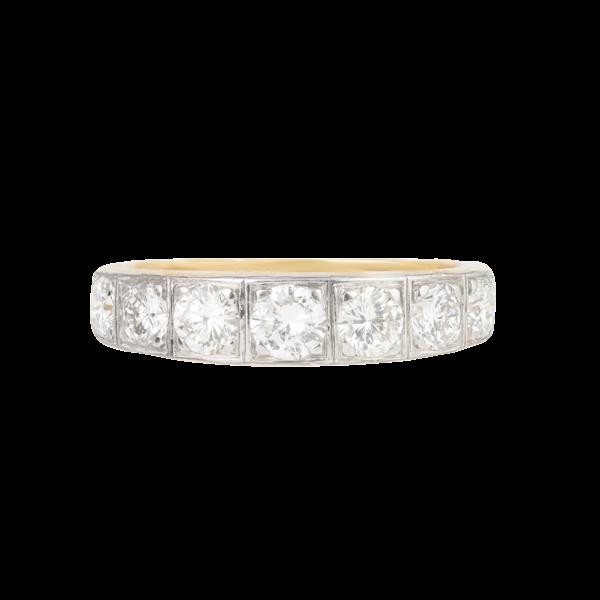 A Seven Stone Diamond Half Hoop Ring - image 1