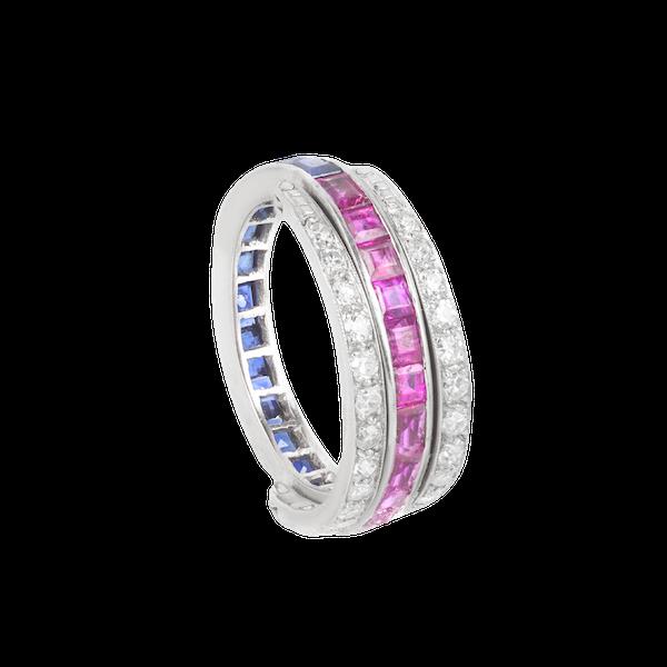 An Art Deco Sapphire Ruby Diamond Flipover Ring - image 4