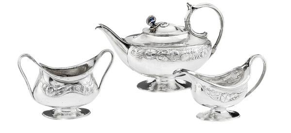 OMAR RAMSDEN & ALWYN CARR Sterling Silver - Art & Crafts - 3 Piece Tea Set - image 1