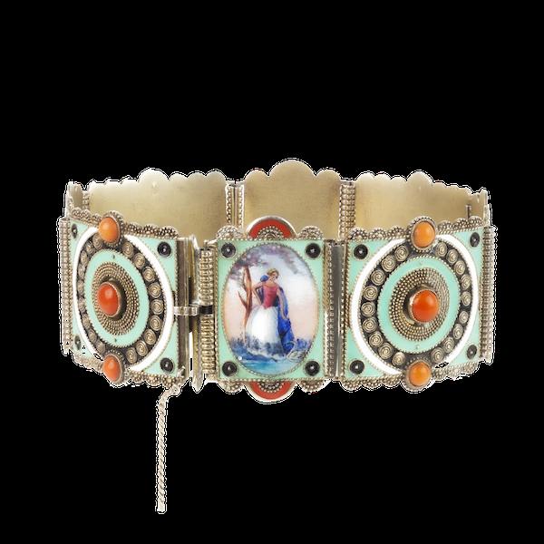 An Austrian Silver Enamel Panel Bracelet - image 3
