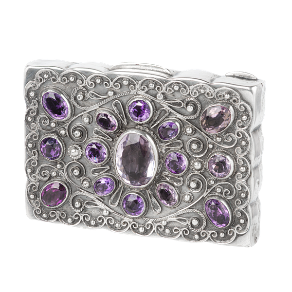 A French Silver Amethyst Pill box - image 1