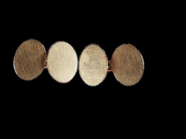 Antique 15ct gold plain oval cufflinks sku 3076 DBGEMS - image 1